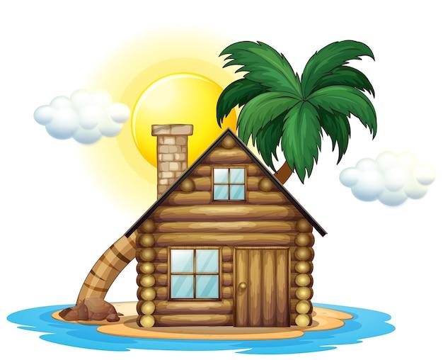 Houten huisje op het eiland