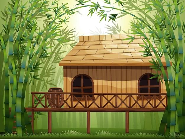 Houten hut in bamboebos