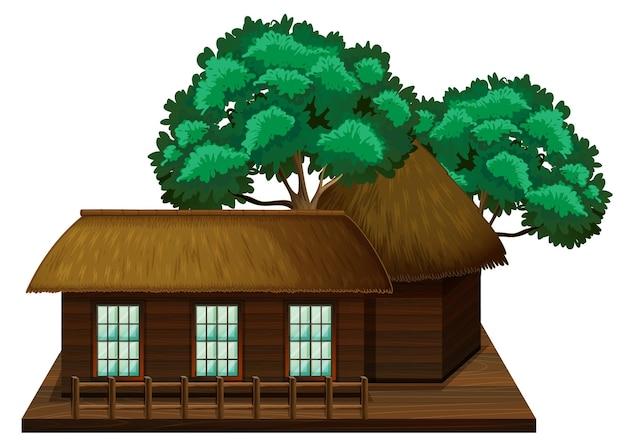 Houten hut met bomen