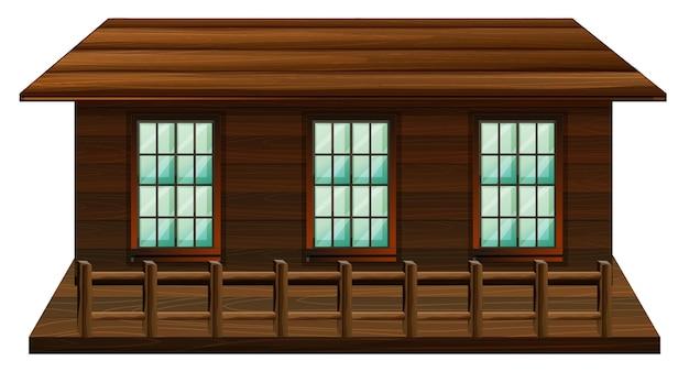 Houten hut met drie ramen