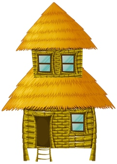 Houten hut met twee verdiepingen