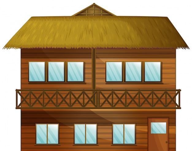 Houten hut met veel ramen