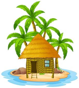 Houten hut op eiland
