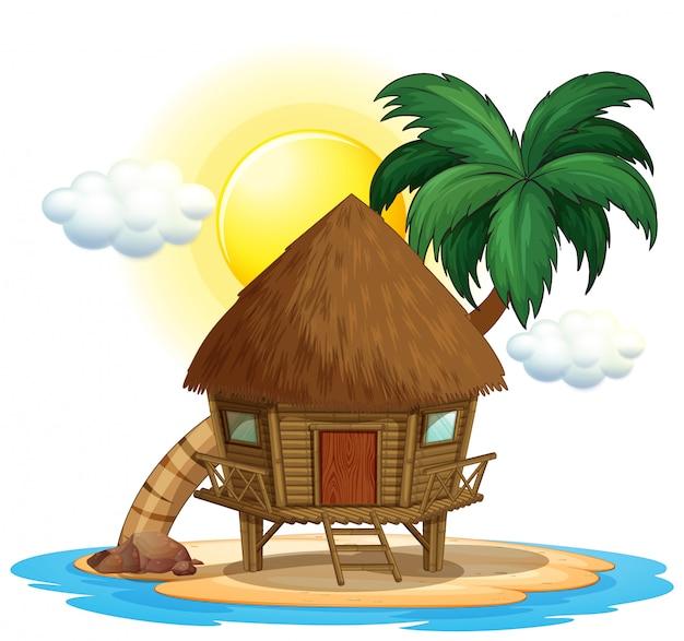 Houten hut op het eiland