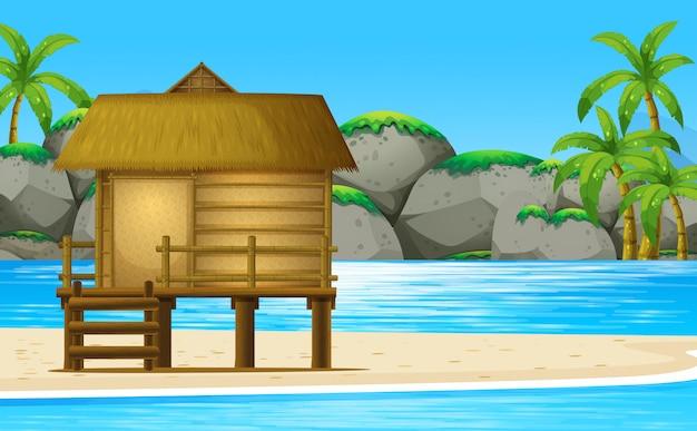 Houten hut op het strand