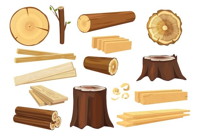 Houten industrie. houthakkersstammen die logboekbosbouw en takkeninzameling stapelen.
