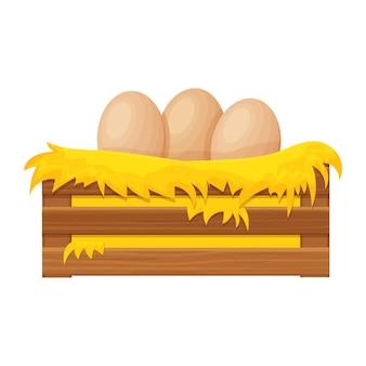Houten kist baal hooi hooiberg met eieren in cartoon-stijl