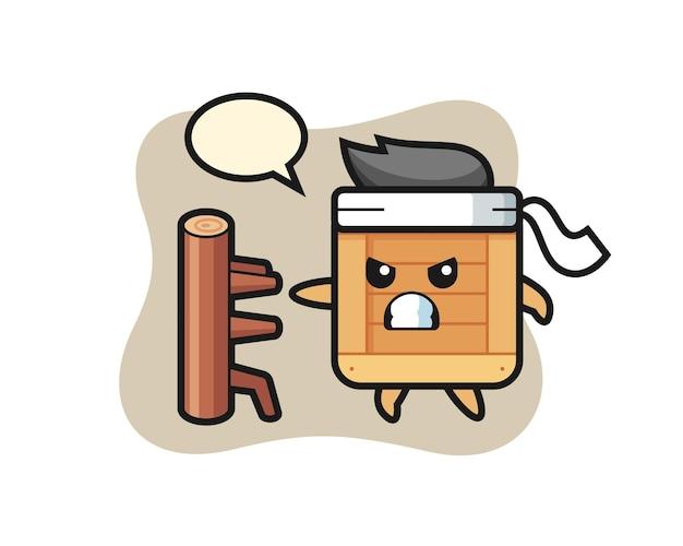 Houten kist cartoon afbeelding als een karate-jager, schattig stijlontwerp voor t-shirt, sticker, logo-element