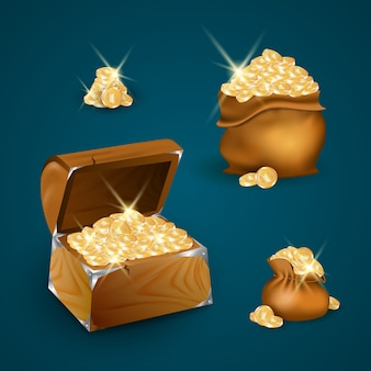 Houten kist en tassen met gouden munten
