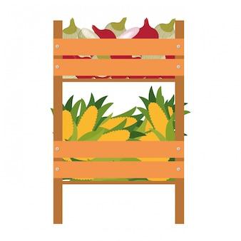 Houten kist met groenten geïsoleerd pictogram