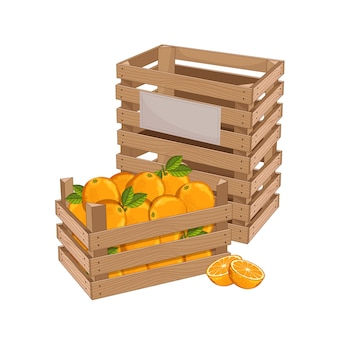 Houten kist vol met oranje