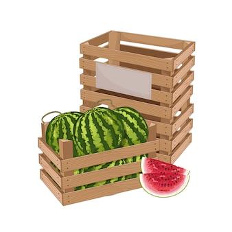 Houten kist vol met watermeloen