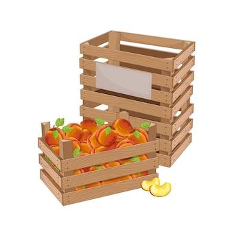 Houten kist vol perzik