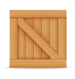 Houten kist voor de levering en het transport van goederen gemaakt van hout cartoon afbeelding geïsoleerd op een witte achtergrond