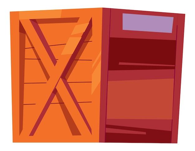 Houten kist voor flessen met alcoholische dranken, verpakking voor opslag en levering van dranken cartoon afbeelding