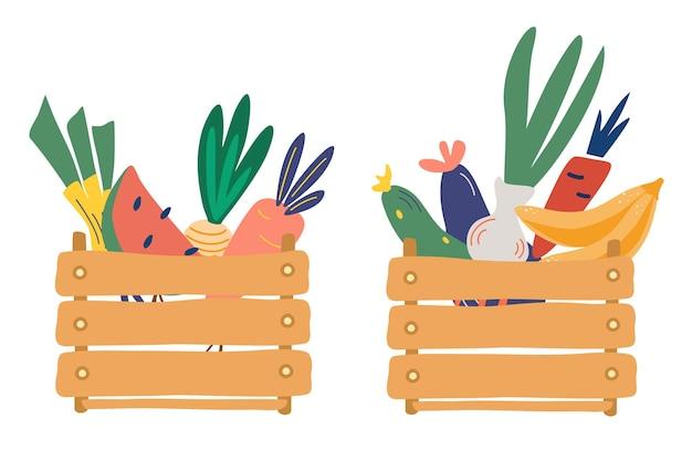 Houten kisten met groenten en fruit. verse, natuurlijke voedingsmiddelen. boerenmarkt.
