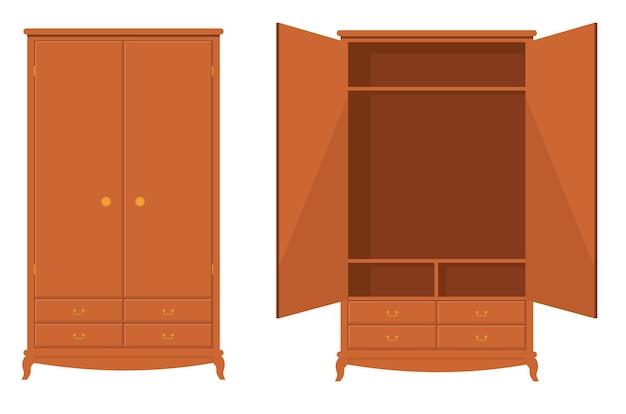 Houten kledingkast houten lege dressoir kledingkast vector illustratie kledingkast met lade planken Premium Vector