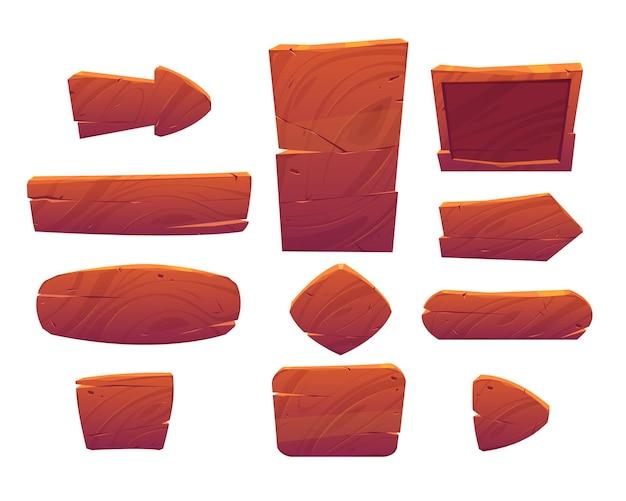 Houten knoppen en borden voor ui-spel, gui-elementen geïsoleerd op wit