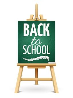 Houten krijt-ezel of schoolbord met krijt. terug naar school schoolbord sjabloon