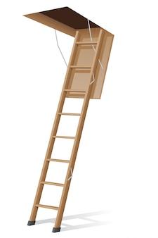Houten ladder naar de zolder.