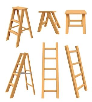 Houten ladders. interieur huishoudelijke apparatuur staande op hulpmiddelen voor thuisbibliotheek stap ladder voor boekenplank realistische vectorillustraties. trapladder opklapbaar, interieur comfortabele constructie