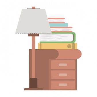 Houten lade met lamp en boeken