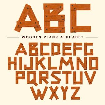 Houten lettertype, plank houten tafel alfabet. oude planken met nagels abc. cartoon stijl vector