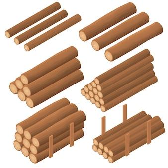Houten logboeken in de isometrische. bruine bast van gekapt droog hout. inkoop voor de bouw. houtblokken voor het aansteken van de oven. vector illustratie.