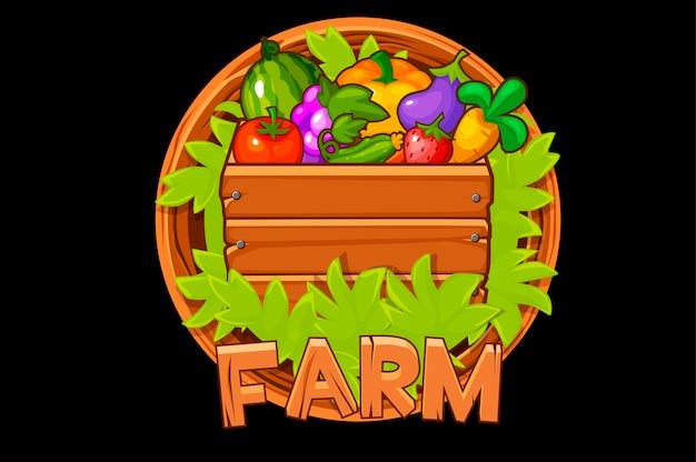 Houten logo boerderij met bessen en groenten in een doos voor ui.