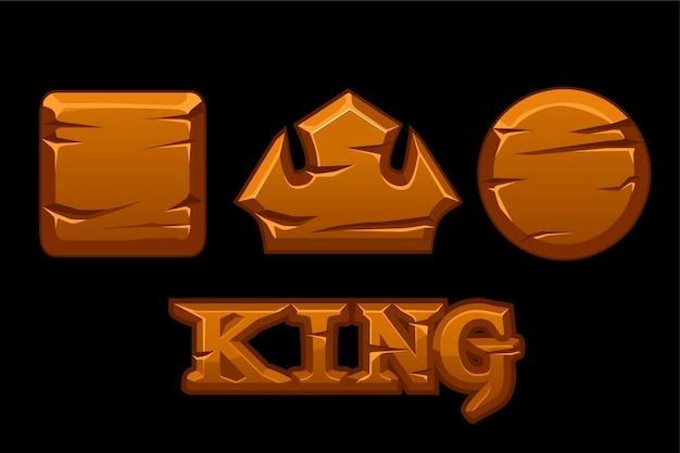 Houten logo koning en oude geometrische pictogrammen.