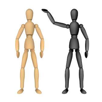 Houten mannequin voor tekenen met verschillende poses. realistische illustratie geïsoleerd.
