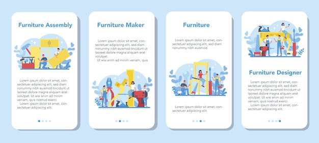 Houten meubelmaker of er bannerset voor mobiele applicaties. reparatie en montage van houten meubelen. home meubelen constructie.