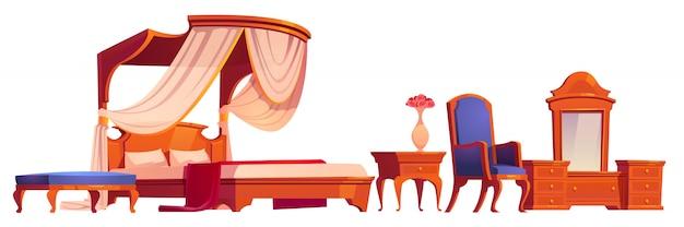 Houten meubilair voor oude victoriaanse slaapkamer