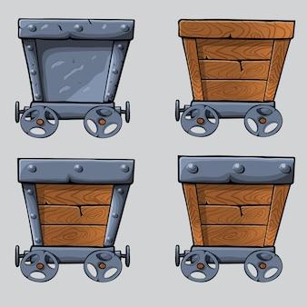 Houten mijnkar set