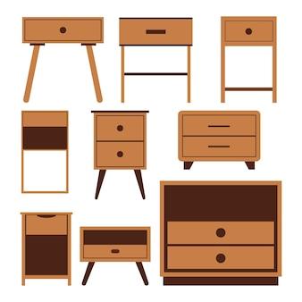 Houten nachtkastje nachtkastje iconen set, platte ontwerp illustratie