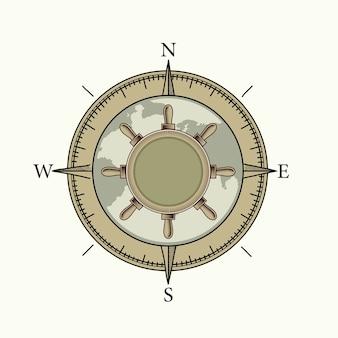 Houten nautisch kompas