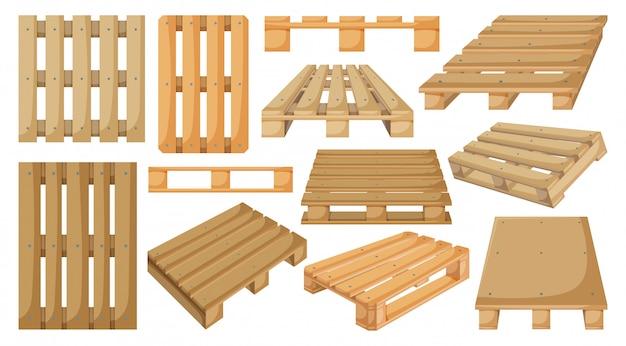Houten pallet cartoon ingesteld pictogram. illustratie magazijn platform op witte achtergrond. de geïsoleerde houten pallet van het beeldverhaal vastgestelde pictogram.
