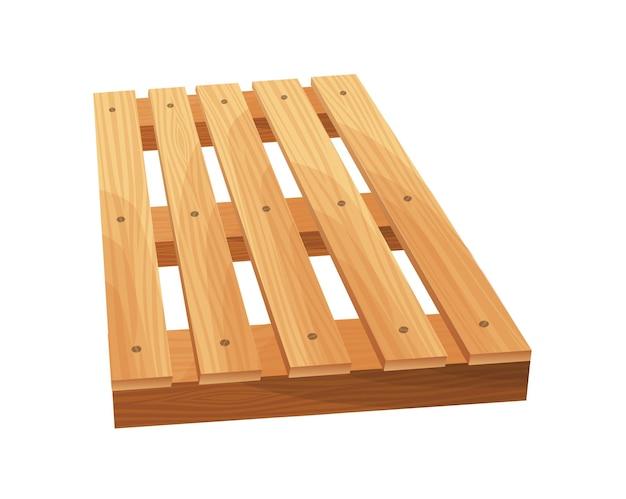 Houten pallet. platform voor vrachtvervoer. magazijnplatform op witte achtergrond. cartoon houten pallet pictogram voor webdesign.