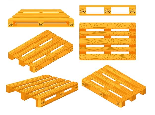 Houten pallets. boven-, voorkant-, zij-, perspectief- en isometrische aanzichten van houten palletobjecten ingesteld. platforms voor het ophalen van vrachtvervoer. vrachtlogistiek en distributie