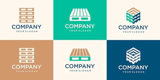 Houten pallets logo ontwerpsjablonen. modern gemakkelijk te bewerken logo sjabloon. ontwerpreeks.