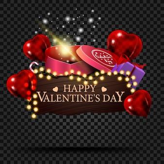 Houten plaat met felicitaties op valentijnsdag