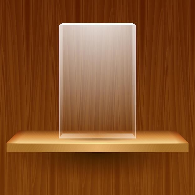 Houten plank met lege glazen doos