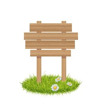 Houten plank op gras