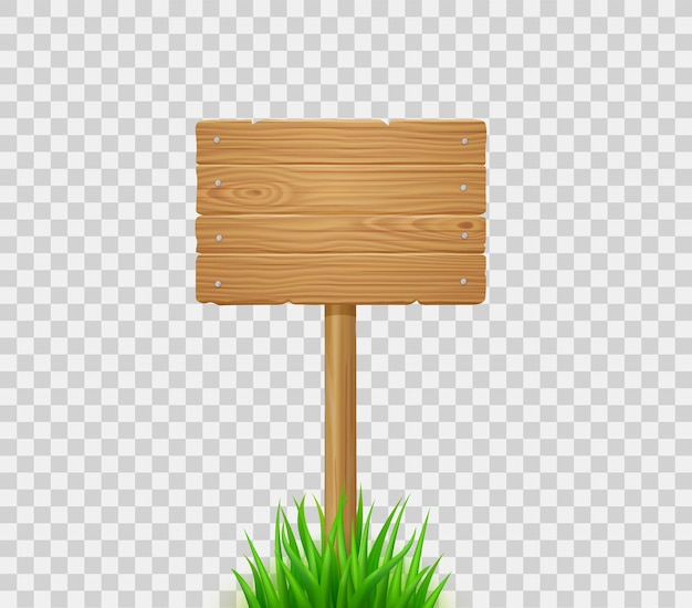 Houten plank op post in groen gras. uithangbord van houten planken op gazon of veld. vector realistische oude hout wegwijzer voor boerderij, land of landelijke scène geïsoleerd op transparante achtergrond