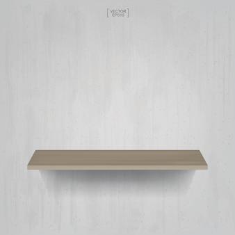 Houten plank op vintage betonnen muur achtergrond. vector illustratie.