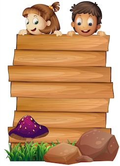 Houten plank sjabloon met jongen en meisje
