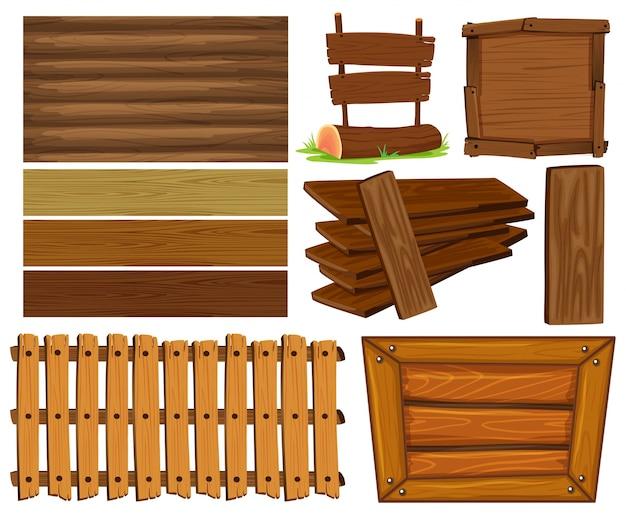 Houten planken en tekenillustratie