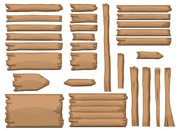 Houten planken in cartoonstijl