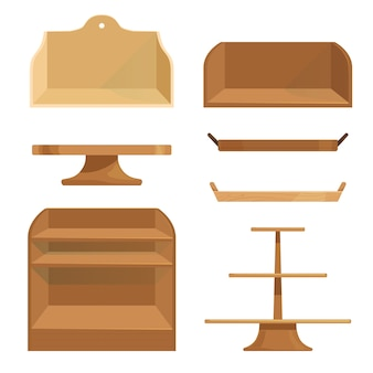 Houten planken laden en standaards voor het opbergen van spullen of het uitstallen van goederen