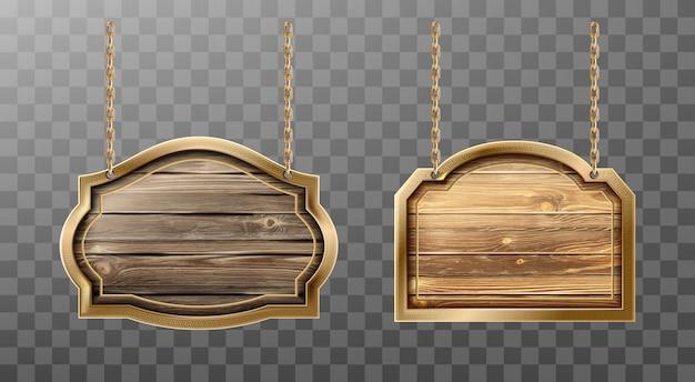 Houten planken metalen frame op touwen realistisch teken